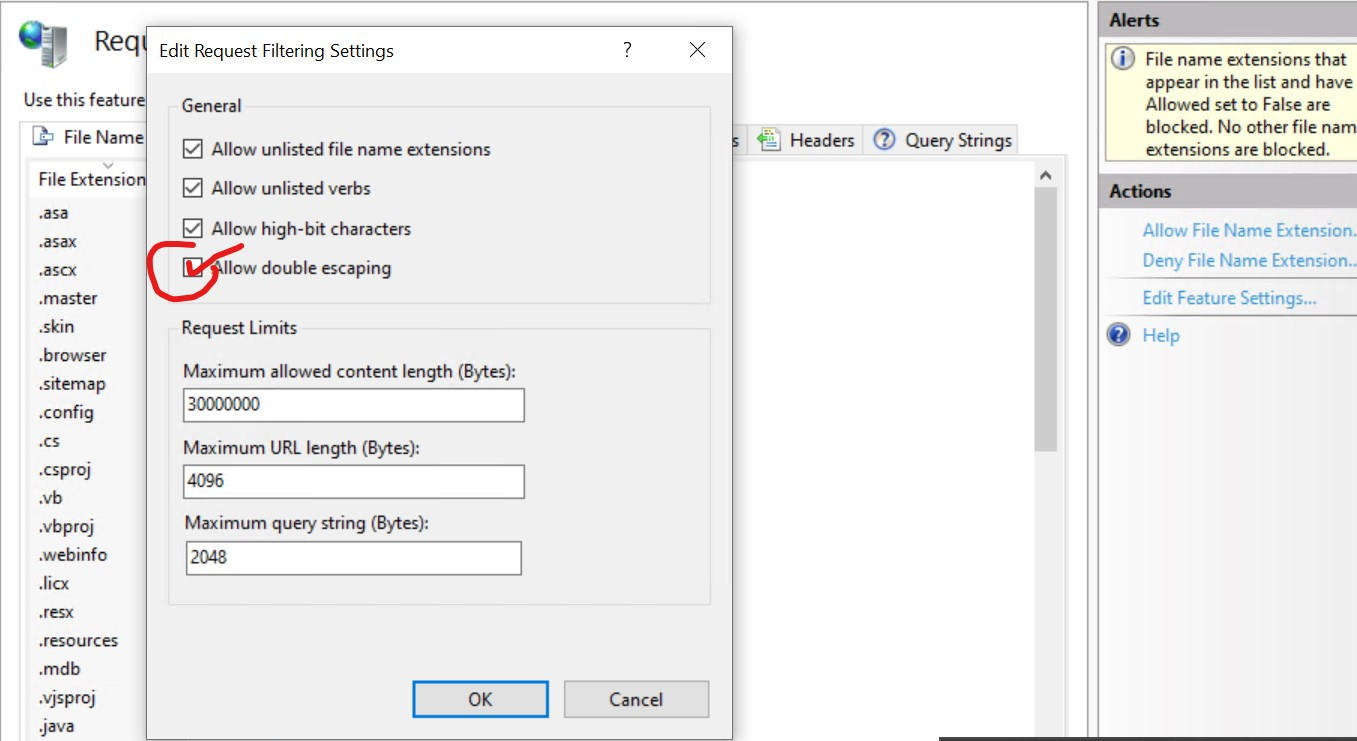 Enable Request Filtering in IIS